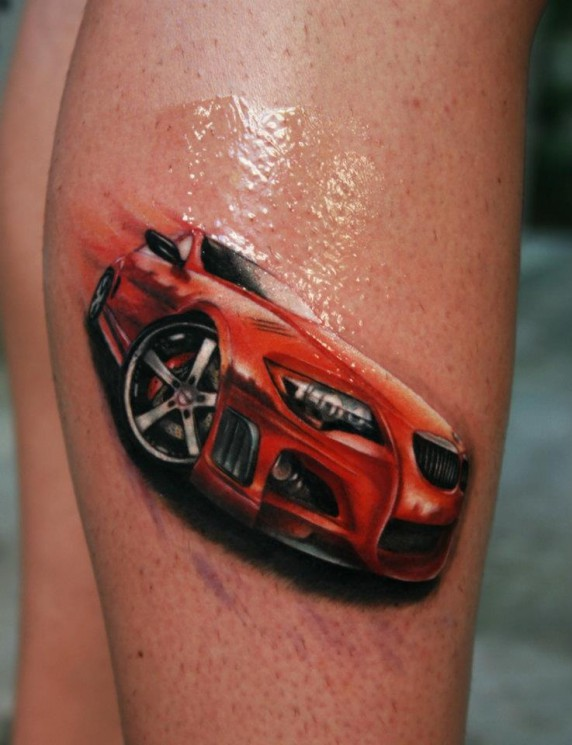 Barcode And Orange Sports Car Tattoos For Men