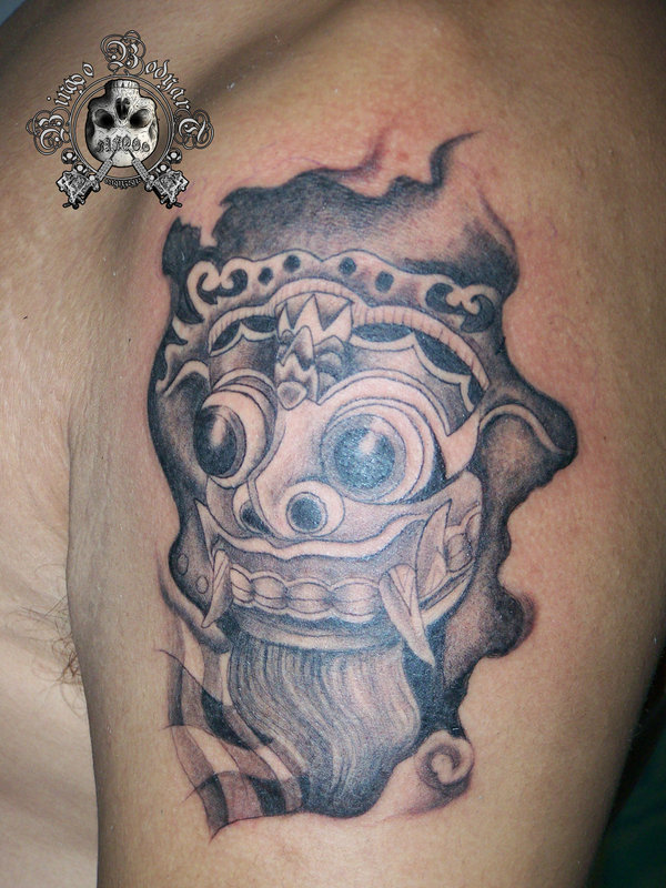 barong mask sleeve tattoo design photo 2 2017 real photo pictures images and sketches. Black Bedroom Furniture Sets. Home Design Ideas