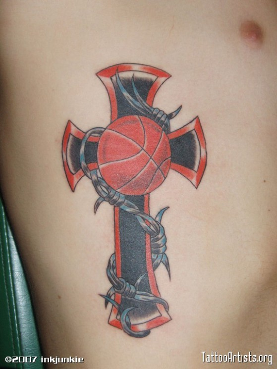 Basketball And Barbed Cross Tattoo For Men
