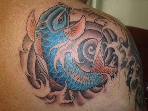 Bass Fish Tattoo On Back Of Shoulder