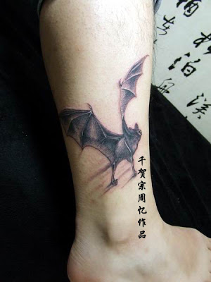 Bat Tattoo Design On Ankle