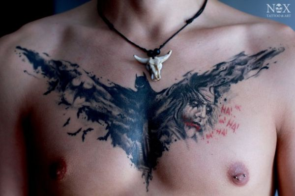 Batman And Joker Tattoos On Chest