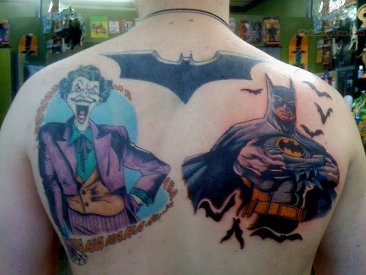 Batman Joker Tattoo Art On Back