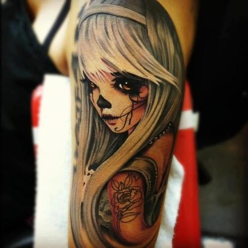 Batman Vampire Girl Sleeve Tattoos