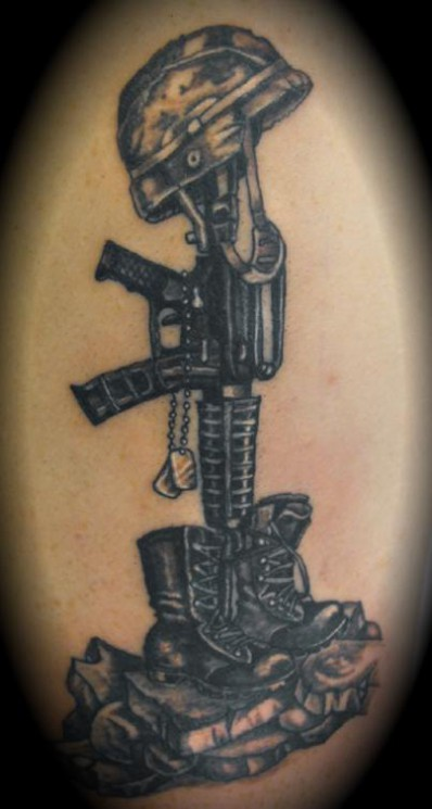 Battlefield Cross Military Tattoo Design