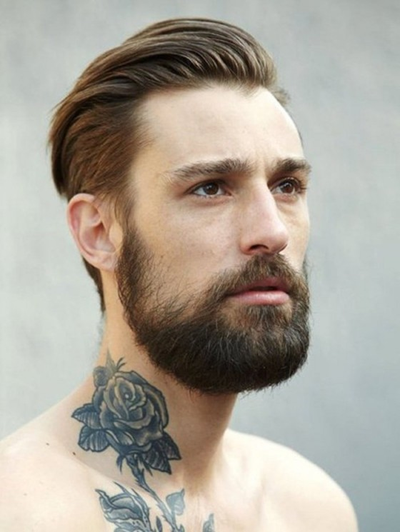 Bearded Man With Rose Tattoo On Neck