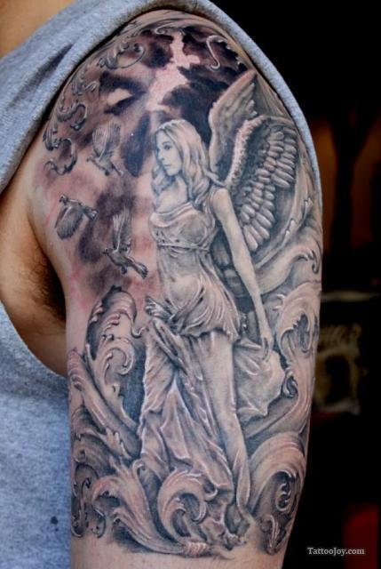 Beautiful Angel Girl With Birds Tattoo On Shoulder