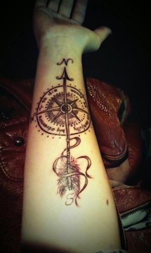 Beautiful Arrow Compass Tattoo On Forearm