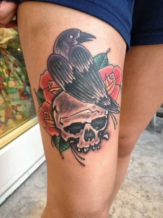 Beautiful Crow Skull And Rose Tattoos On Thigh