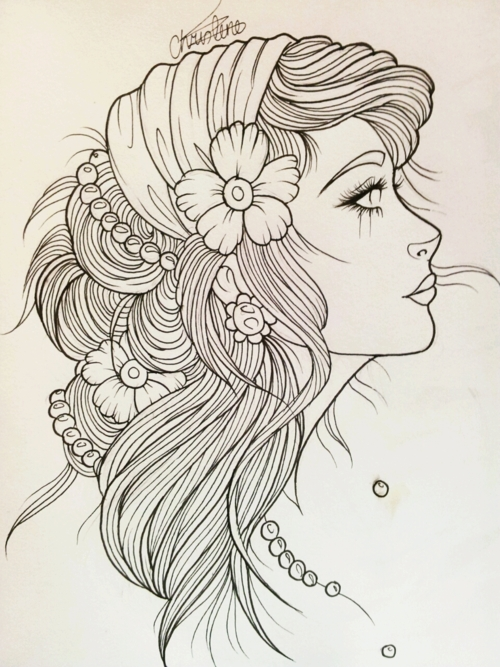 Beautiful Girl Head Tattoo Design