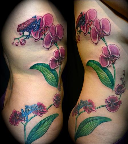 Beautiful Orchids And Frogs Rib Side Tattoos