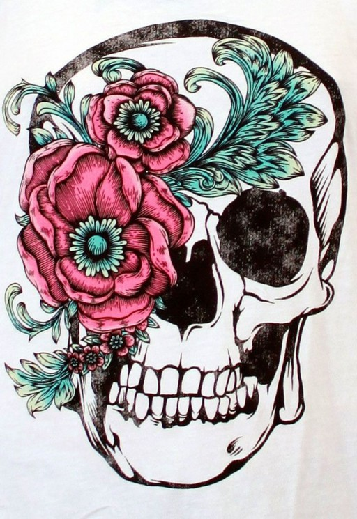 Beautiful Skull With Flower Tattoos On Thigh