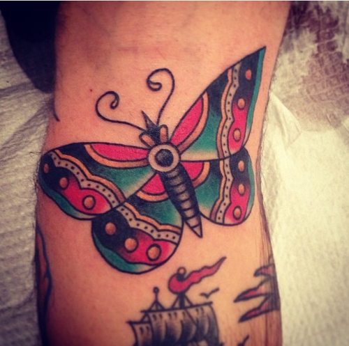 Beautiful Traditional Butterfly Tattoo
