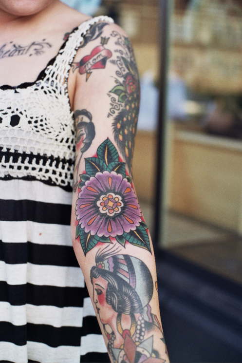 Beautiful Traditional Tattoos On Arm