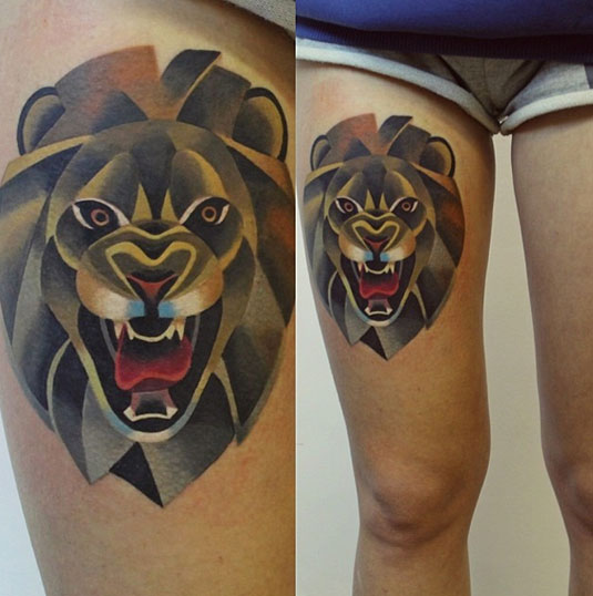 Beautiful Watercolor Lion Tattoo On Thigh For Girls