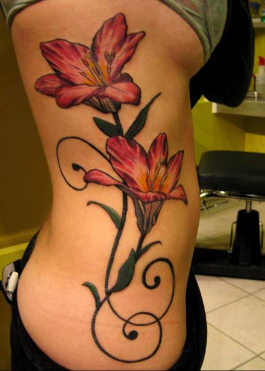 Beautiful Waves And Flower Tattoos For Women