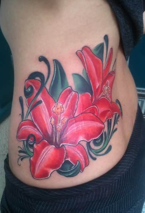 Bee On Lily Flower – Tattoo