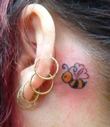 Bee Tattoo On Behind Ear