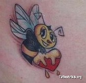Bee With Peaches Tattoo Design