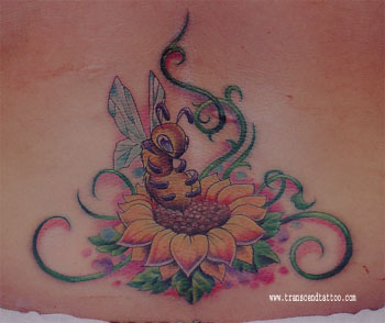 Bee With Sunflower And Roses Tattoos For Back