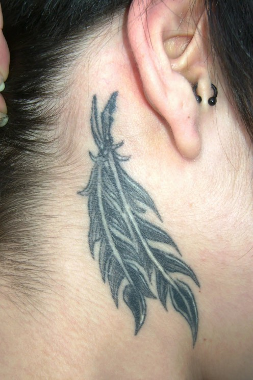 Behind The Ear Feather Tattoo Design