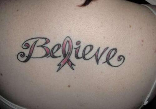 Believe Breast Cancer Tattoo On Wrist