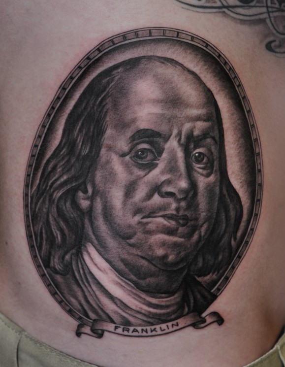 Benjamin Franklin Portrait Tattoo For Men