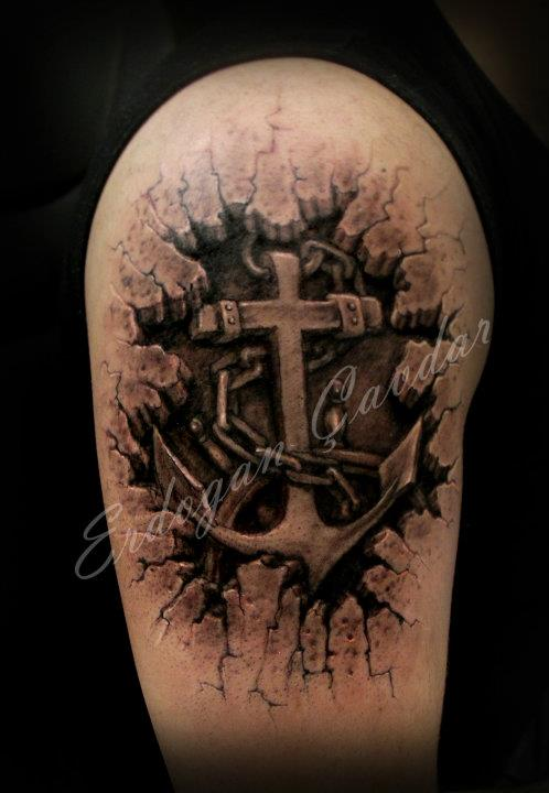 Best 3D Torn Ripped Skin Tattoo On Whole Leg