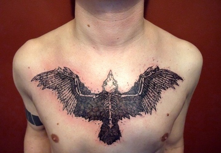 Big Amazing Ship Tattoo On Chest