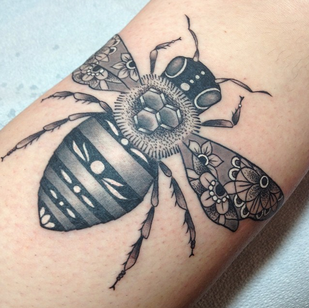 Big Bee Tattoo For Arm