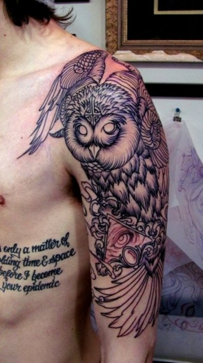Big Owl Tattoo On Shoulder
