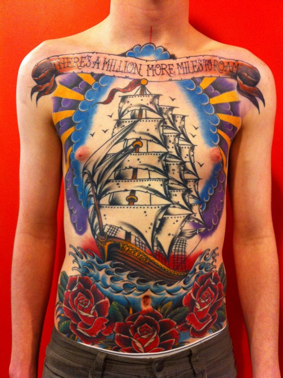 Big Ship Frame Tattoo Picture On Back