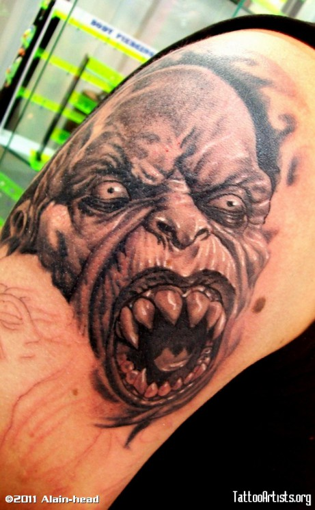 Big Teeth Vampire Tattoo On Shoulder