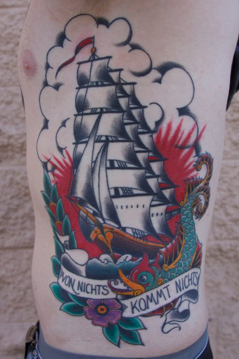 Big Traditional Pirate Ship Tattoos On Ribs