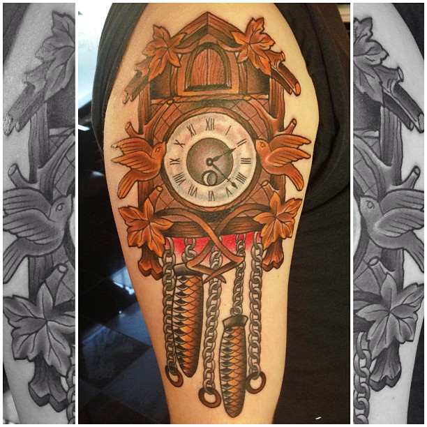 Antique clock tattoo