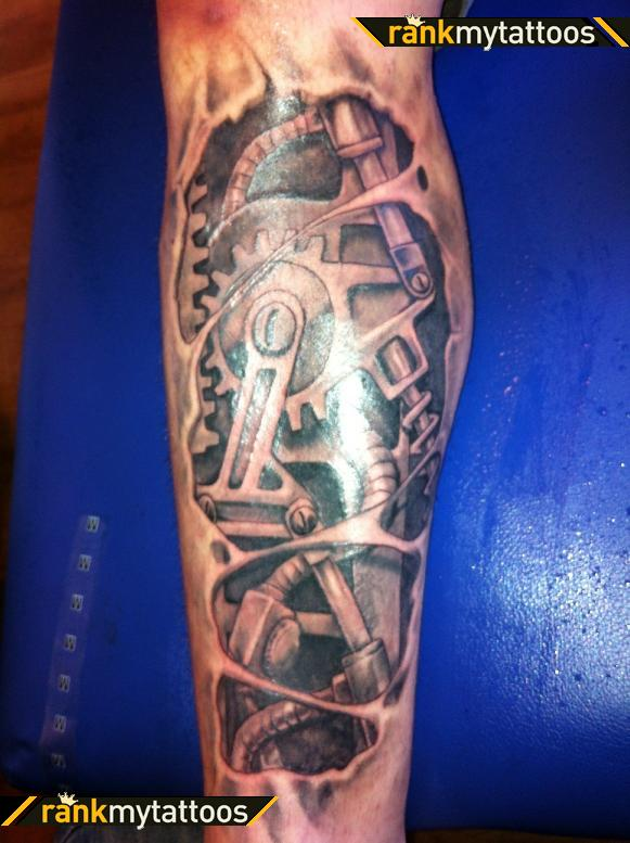 Bio Gear Leg Tattoo Design In 2017 Real Photo Pictures Images And