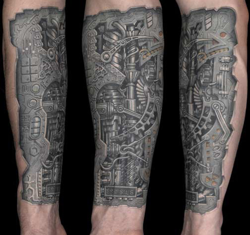 Biomechanical Alien Tattoo On Chest, Shoulder And Arm