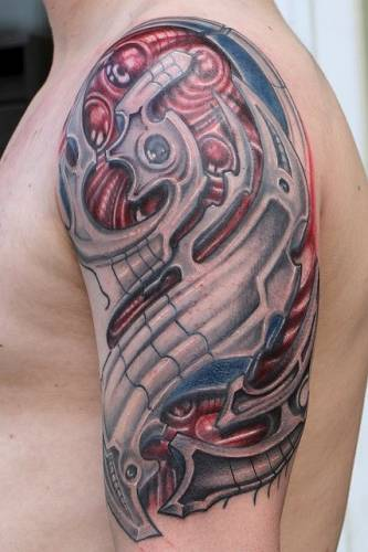 Biomechanical Alien Tattoo On Shoulder, Chest And Arm