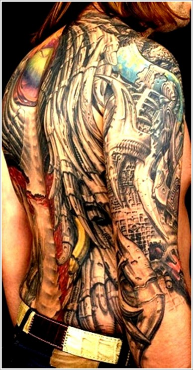 Tremendous Biomechanical Tattoo On Chest & Shoulder