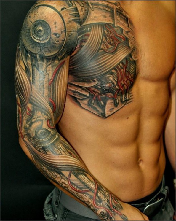 Biomechanical Tribal Tattoo On Upper Arm