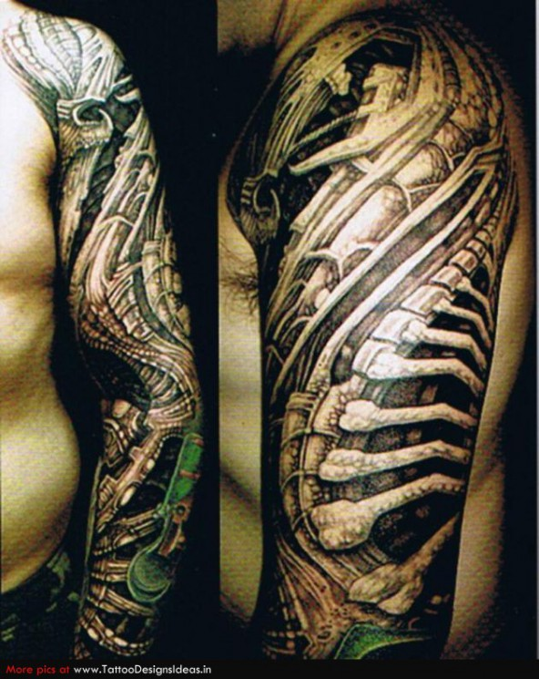 Biomechanical Woman Left Sleeve Tattoo