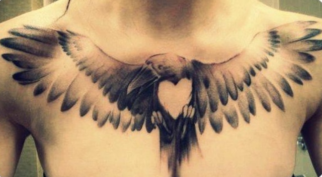 Bird Clock And Heart Tattoos On Chest