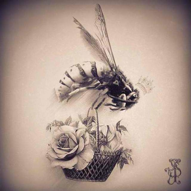 bird flowers bee tattoo design in 2017 real photo pictures images and sketches tattoo. Black Bedroom Furniture Sets. Home Design Ideas
