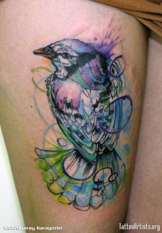 Bird Watercolor Tattoo Behind Right Shoulder