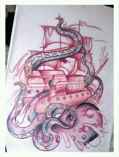 Birds And Octopus Ship Tattoos On Back