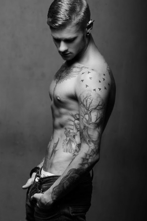 Birds And Tree Tattoos On Side For Men
