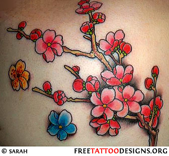 Birds Flowers Branches Outline Tattoo