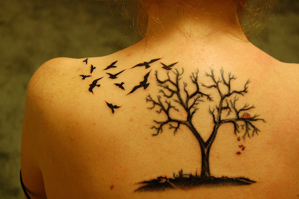 Birds Flying From Tree Of Life Tattoos On Back
