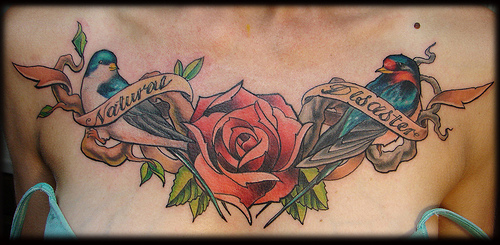 Birds Rose With Natural Disaster Banner Tattoo