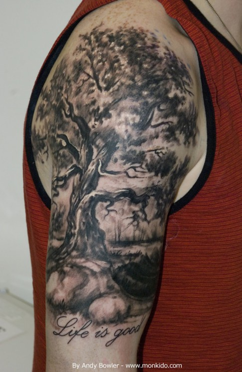 Black And Grey Tree Tattoo On Half Sleeve